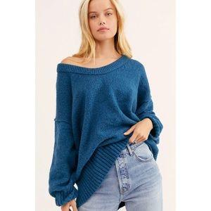 NWT Free People Brookside Tunic Sweater Blue